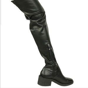 ZARA | Over the Knee Lug Sole Boots